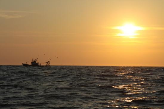 Un chalutier soleil levant. Photo de mon ami Sylvain